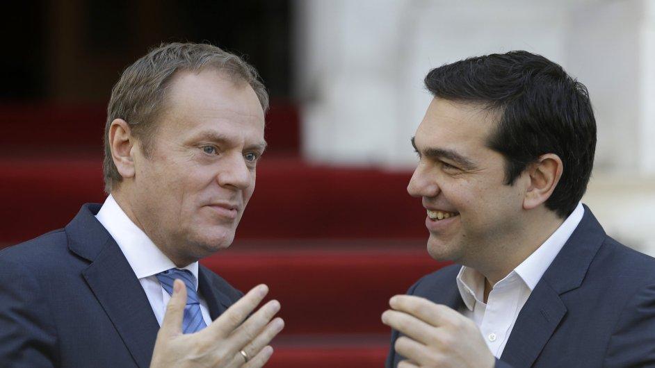 Řecký ministr Alexis Tsipras při setkání s Donaldem Tuskem.