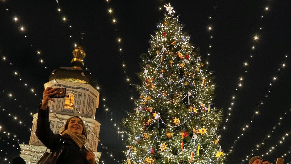 Vánoční strom, stromeček, Ukrajina, Kyjev.