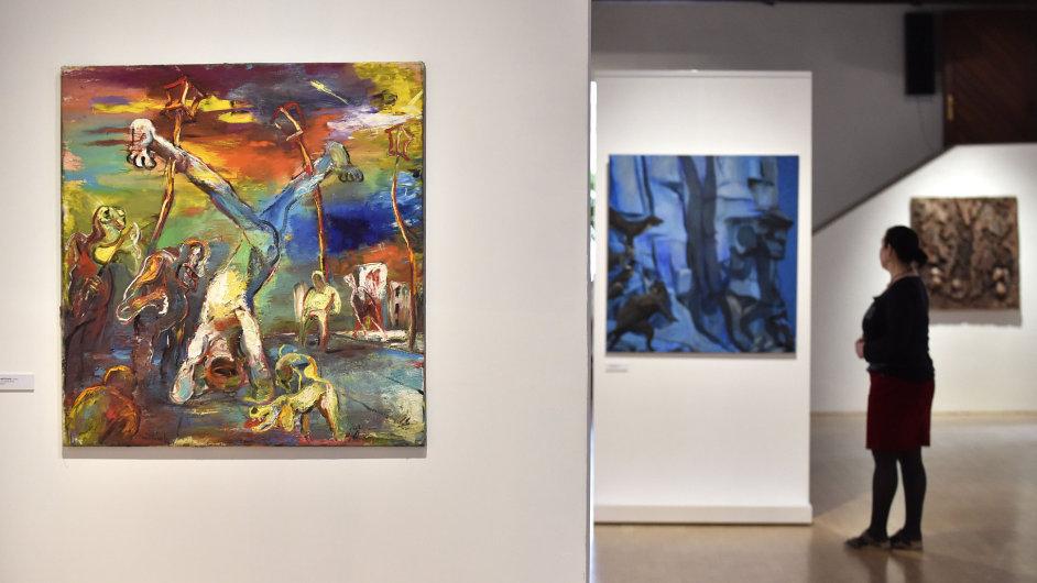Na snímku z výstavy Memento Tiziani je obraz Marsyas 21. století od Tomáše Měšťánka.
