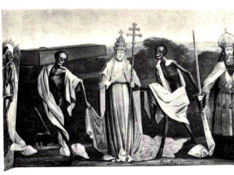 Nasnímku je dnes již neexistující vlys tance smrti zchrámu vněmeckém Lübecku, podle nějž Thomas Ad?s složil kompozici Totentanz.