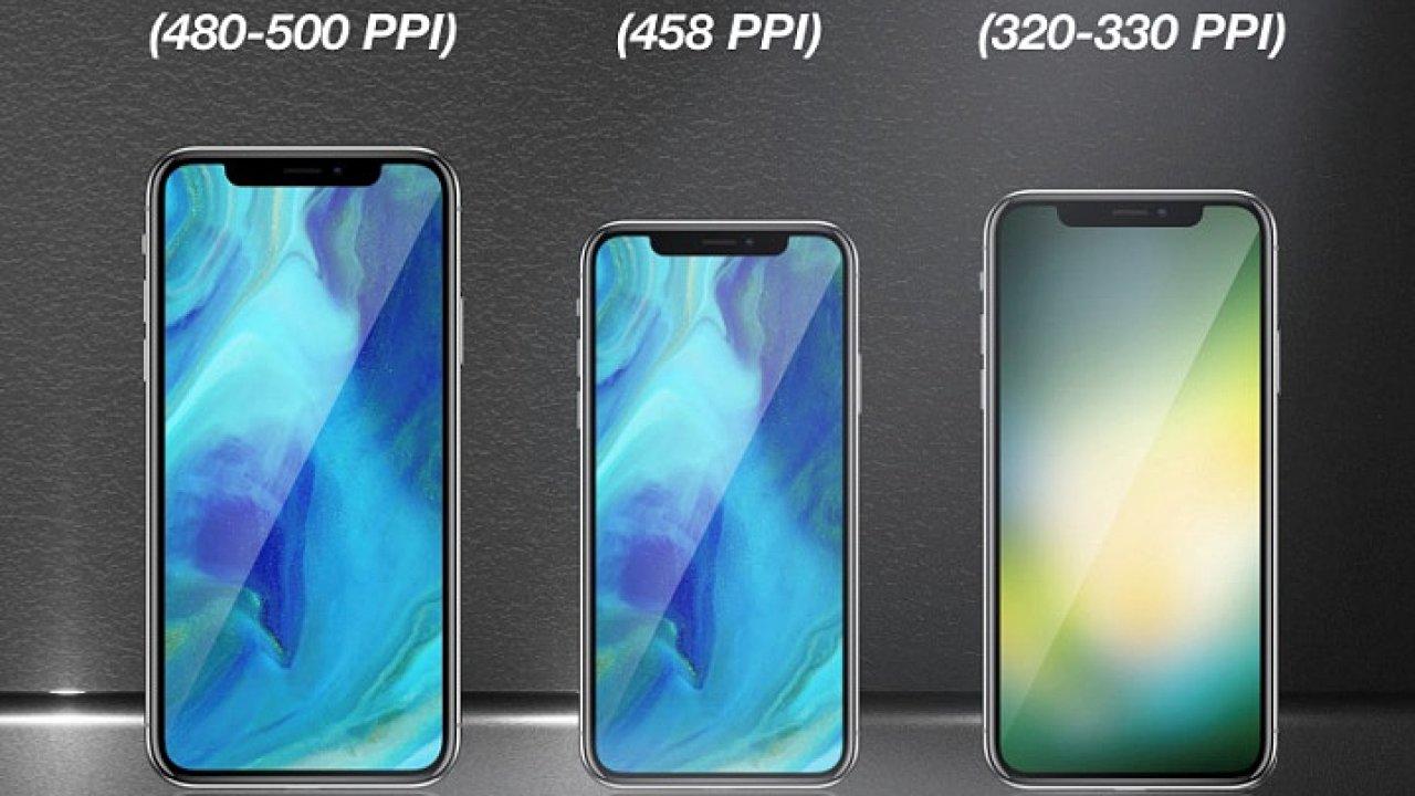 Ilustrace očekávaných iPhonů pro rok 2018
