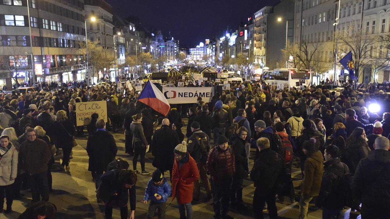 Demonstrace za zachování svobody slova a médií, kterou v reakci na inaugurační projev prezidenta Miloše Zemana uspořádala skupina AUVA, se uskutečnila 14. března v Praze.