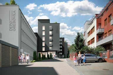 Depo Grébovka. Vnovém bytovém komplexu v Praze naVinohradech je přes 150 bytů ajejich průměrná velikost je 30 metrů čtverečních.