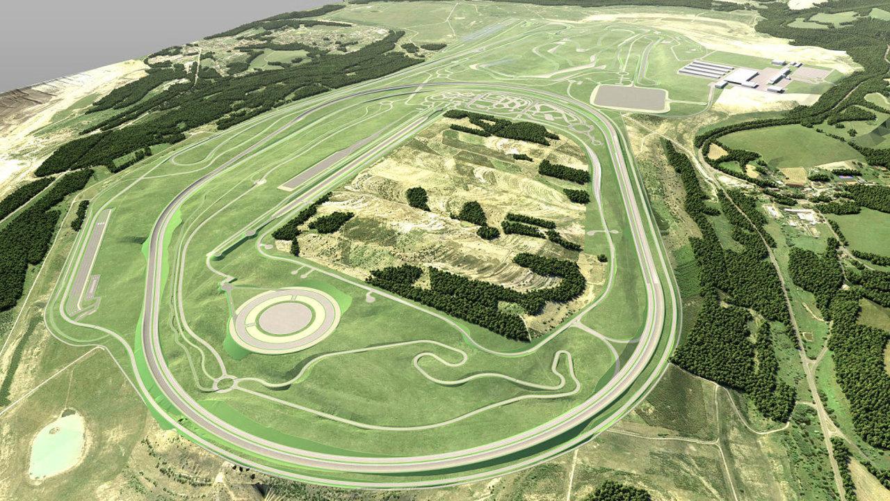 Vizualizace původního plánu testovacího polygonu BMW u Sokolova.