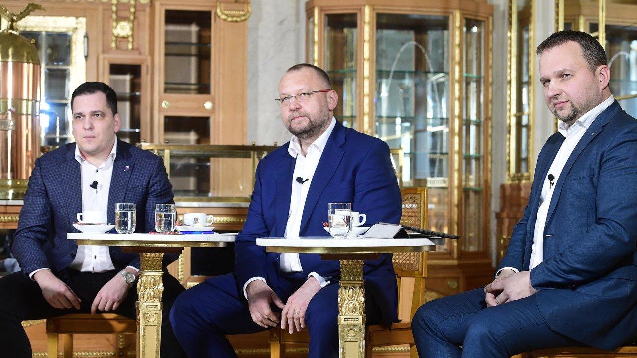 Kdo bude šéfem lidovců? Zleva: Tomáš Zdechovský, Jan Bartošek a Marian Jurečka.