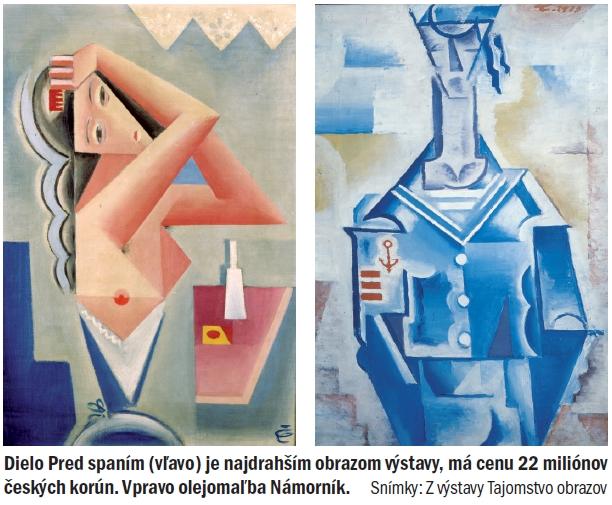 Dielo Pred spaním (vľavo) je najdrahším obrazom výstavy, má cenu 22 miliónov českých korún. Vpravo olejomaľba Námorník. Snímky: Z výstavy Tajomstvo obrazov