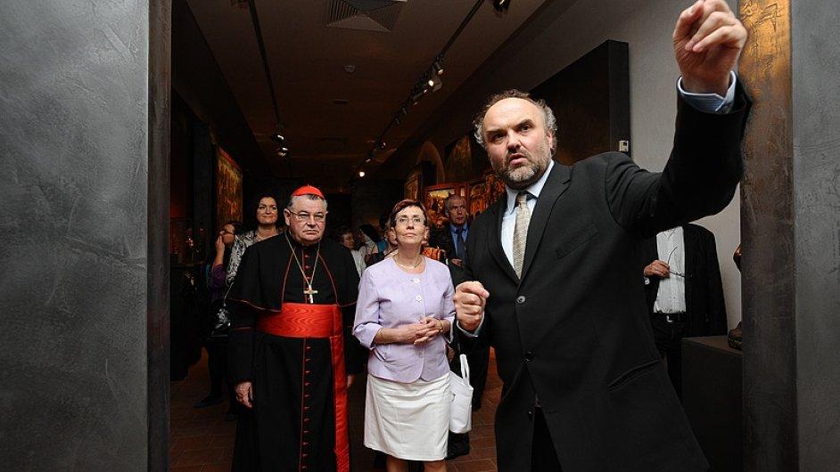 Jiří Fajt na zahájení výstavy Europa Jagellonica v galerii GASK