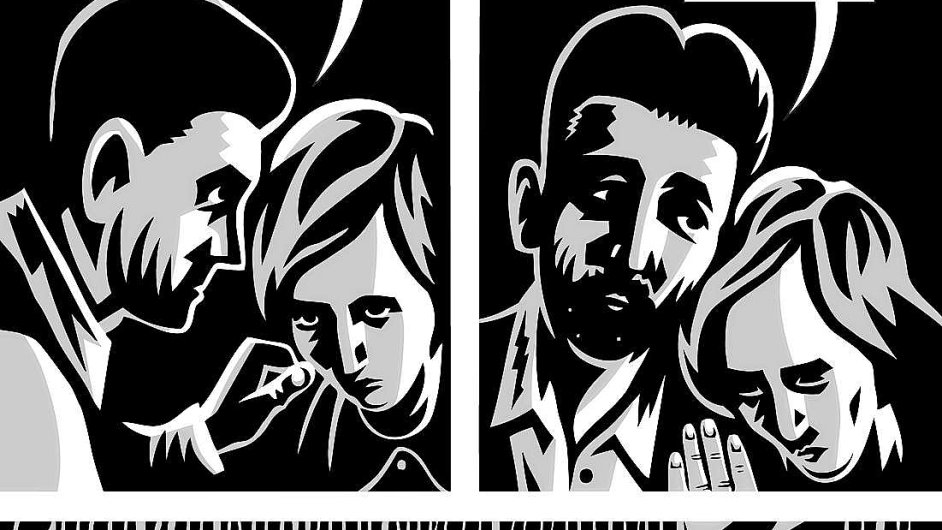 Ukázka z komiksové adaptace Zámku, kterou vytvořil Jaromír 99 s americkým autorem Davidem Mairowitzem.