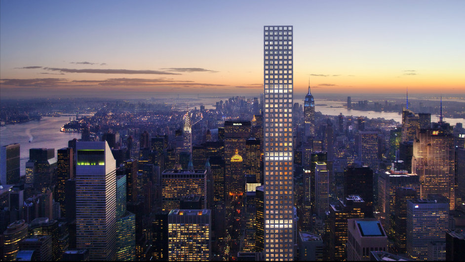 Vizualizace bytového mrakodrapu 432 Park Avenue, který vyrůstá na newyorském Manhattanu.