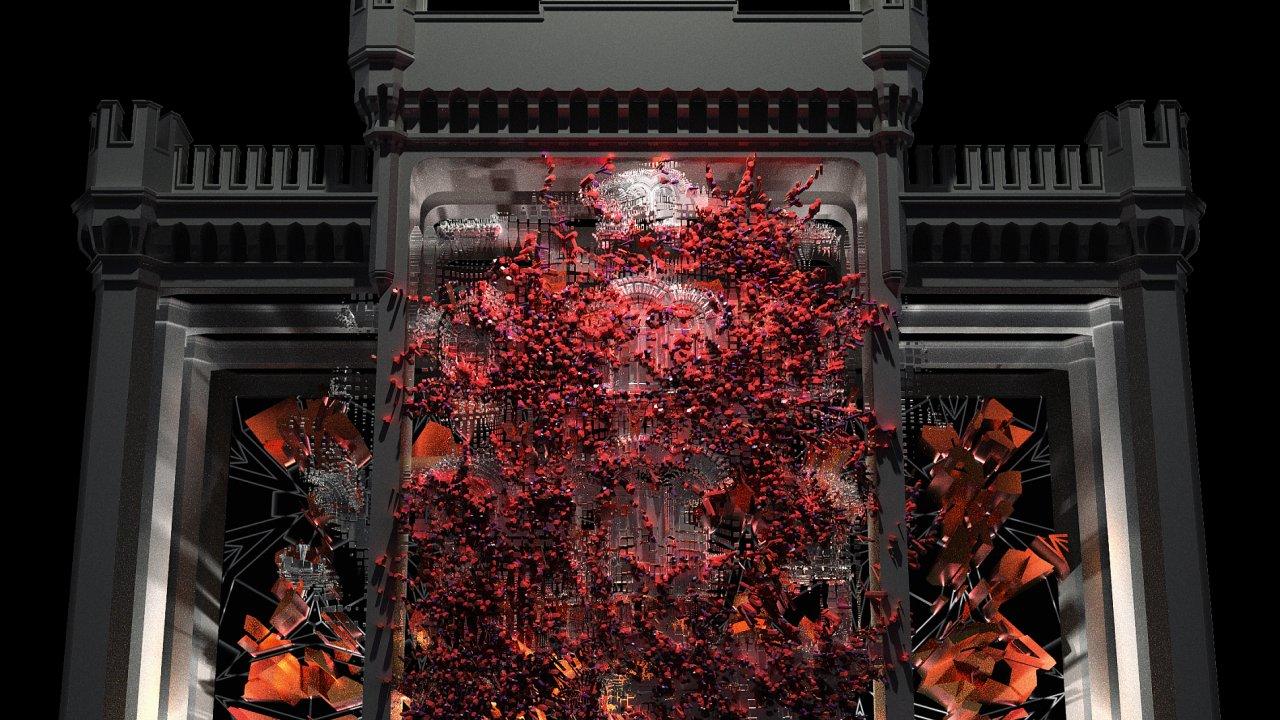 Vizualizace videomappingu na průčelí Palladia