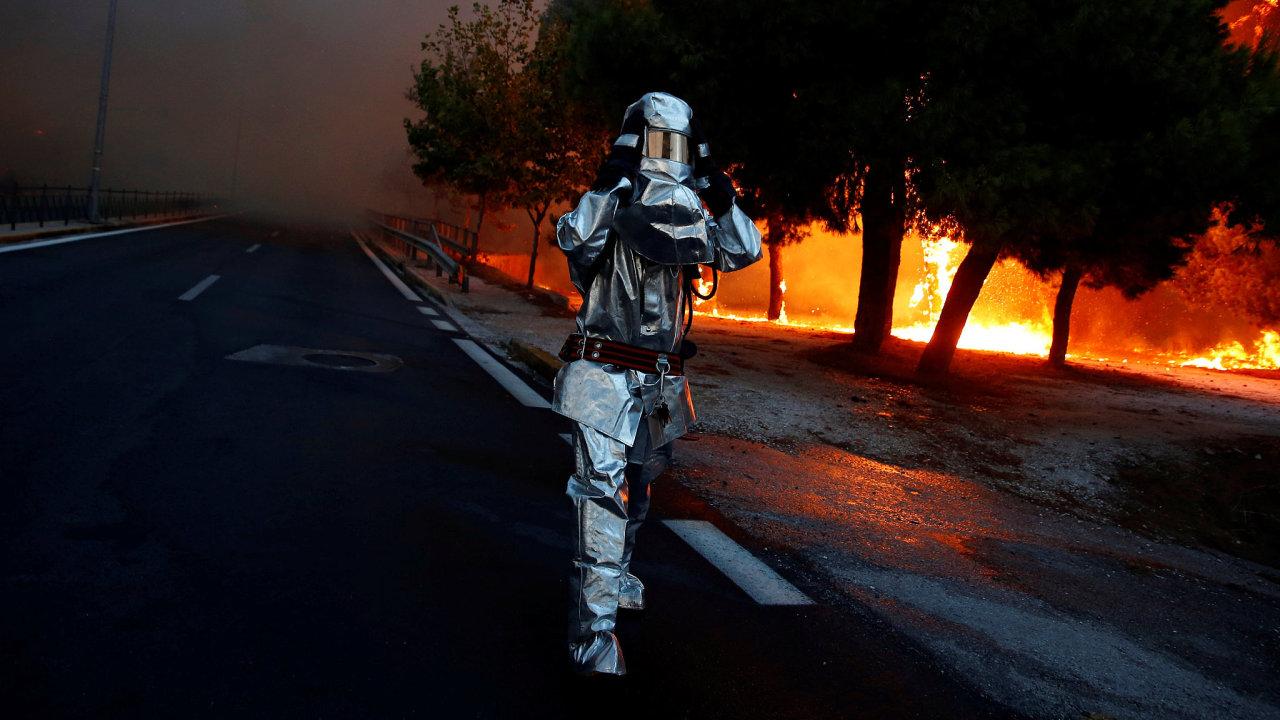 požár hasič řecko