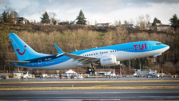 Letoun Boeing 737 Max 8 německé turistické společnosti Tui.