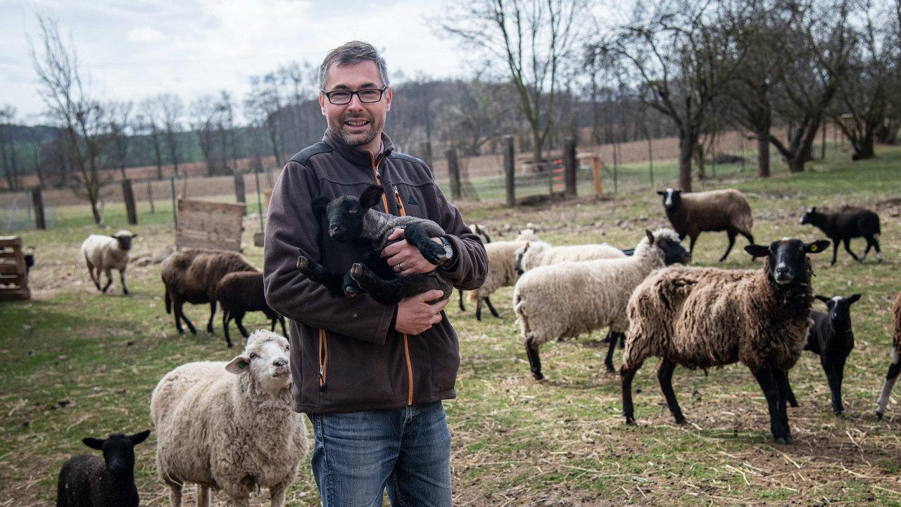 Petr Musil chová na své farmě na Rakovnicku dvě masná ovčí plemena.