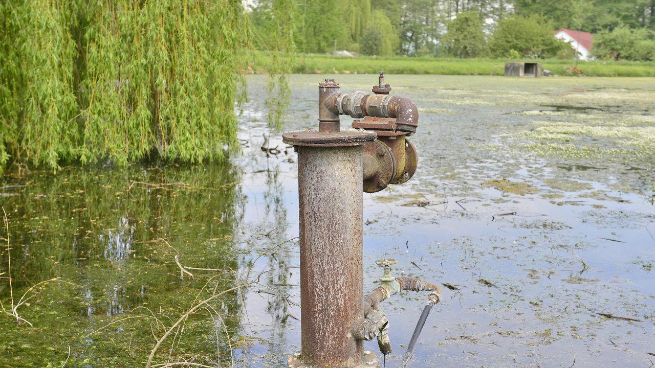 Podzemní dar. Rybník vTrpíku je čistý apramen nade vsí stále dává vodu, ikdyž hladina klesla ivezdejších vrtech. Znich jde voda do akumulačních nádrží. Vodohospodář Petr Vávra zde bedlivě sleduje pohyb hladiny.