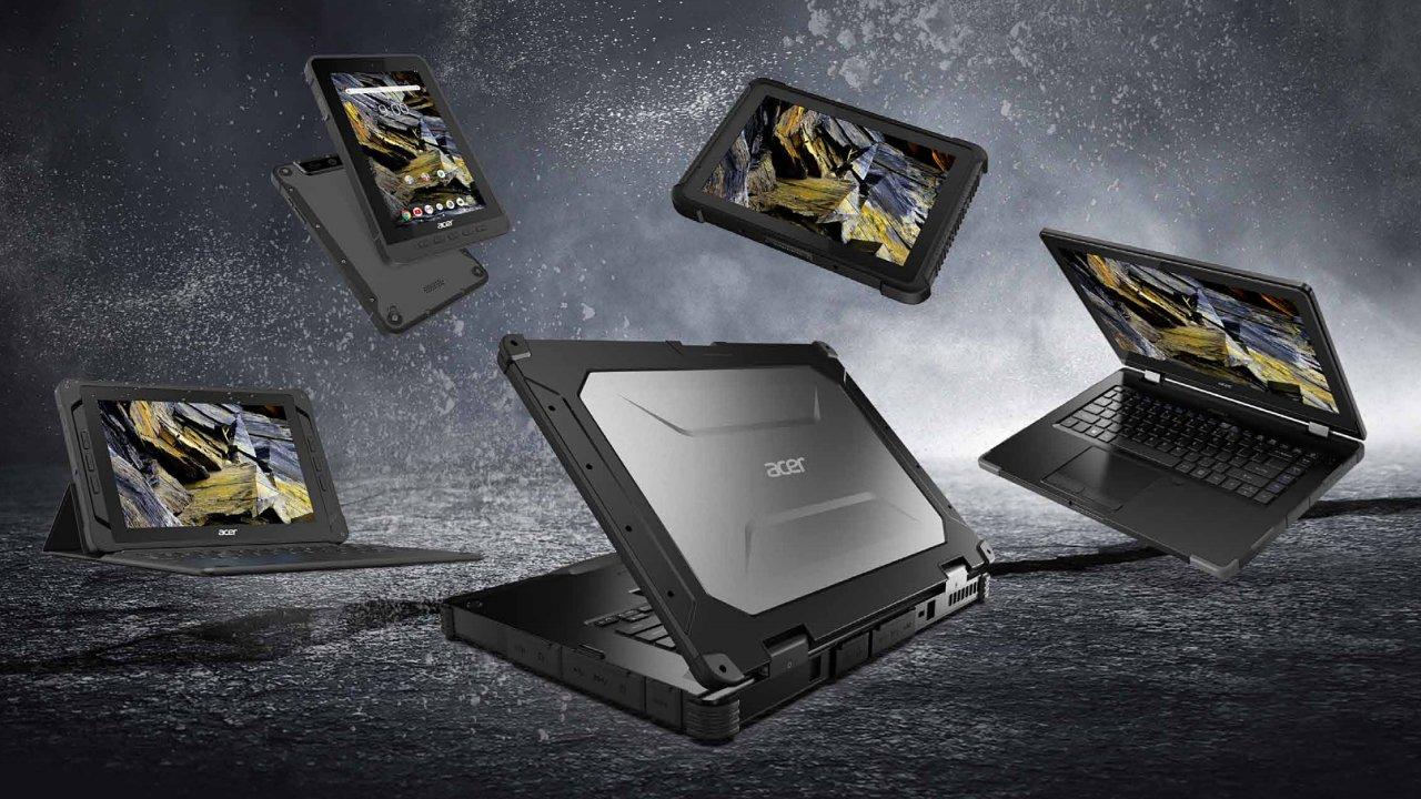 Odolné počítače Acer Enduro vydrží opakované pády i kontakt s vodou, nevadí jim ani mráz.