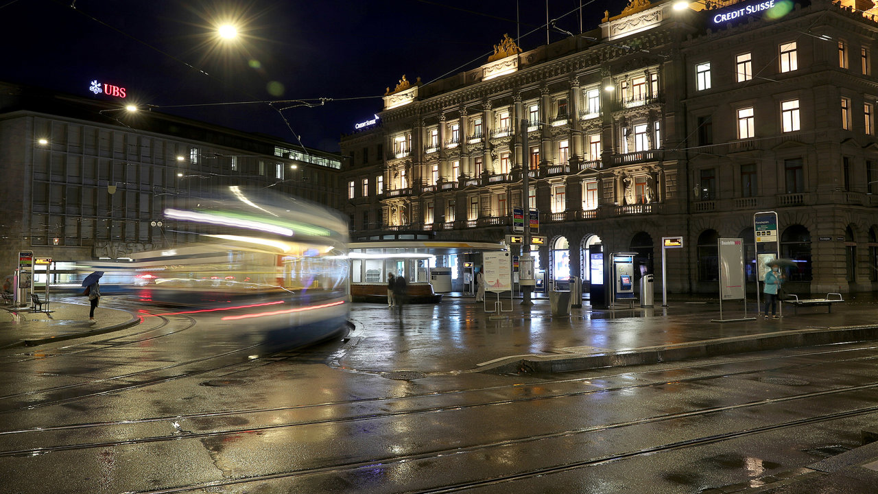 The buildings of Swiss banks UBS and Credit Suisse are seen at Paradeplatz square in Zurich