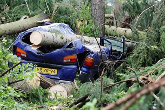 Následky bouřek ve střední Evropě.