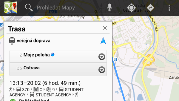 Pražská MHD v mapách od Googlu