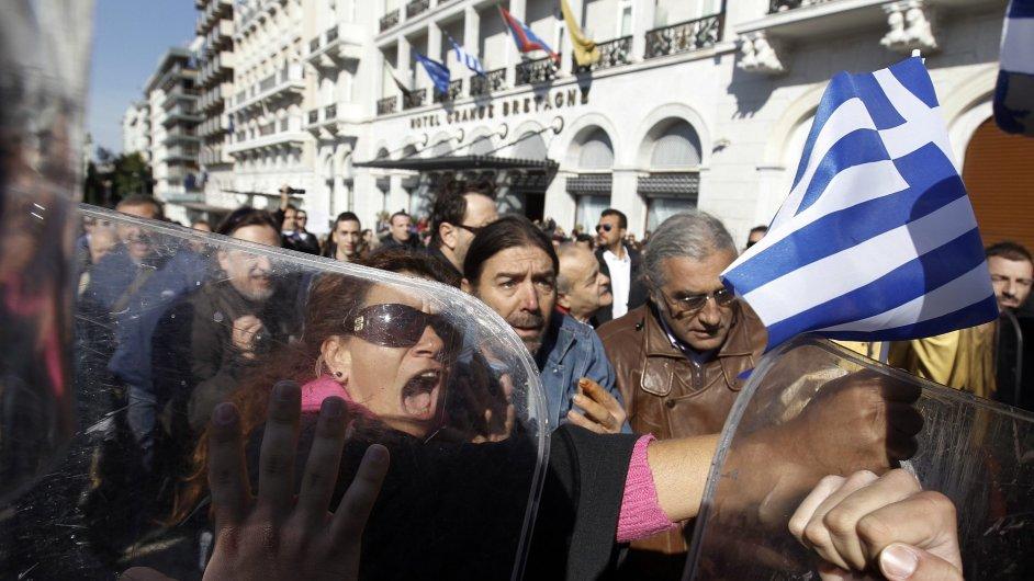 Protesty v Řecku, ilustrační záběr