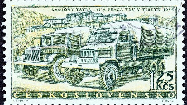 Kamiony Tatra v Tibetu se dostaly a� na zn�mku v roce 1958.