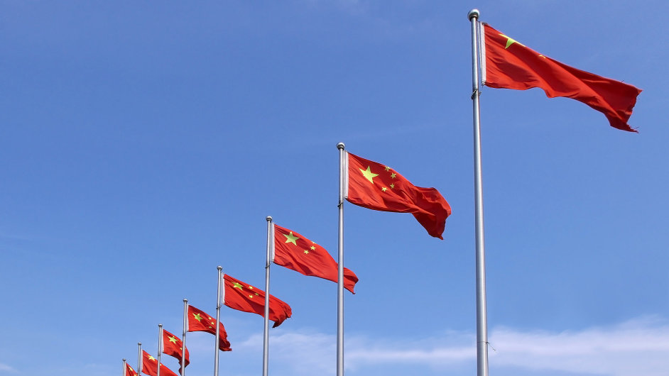 Čína, vlajka, čínská vlajka, čínské vlajky, Peking