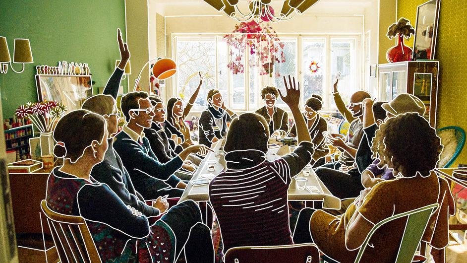 Smyslem projektu Evropa uvás doma souboru Rimini Protokoll je okamžik, vněmž náhodní lidé spolu sedí ustolu, sbližují se avnímají se navzájem.