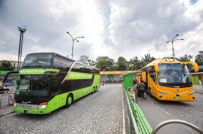 Autobusy společností FlixBus a RegioJet na autobusovém nádraží Praha - Florenc.