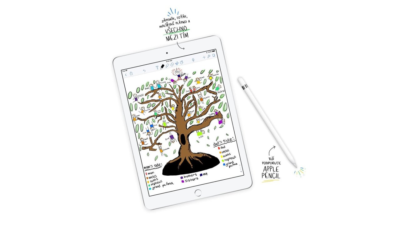 Nový iPad je výkonnější a rozumí si sdotykovým perem Apple Pencil