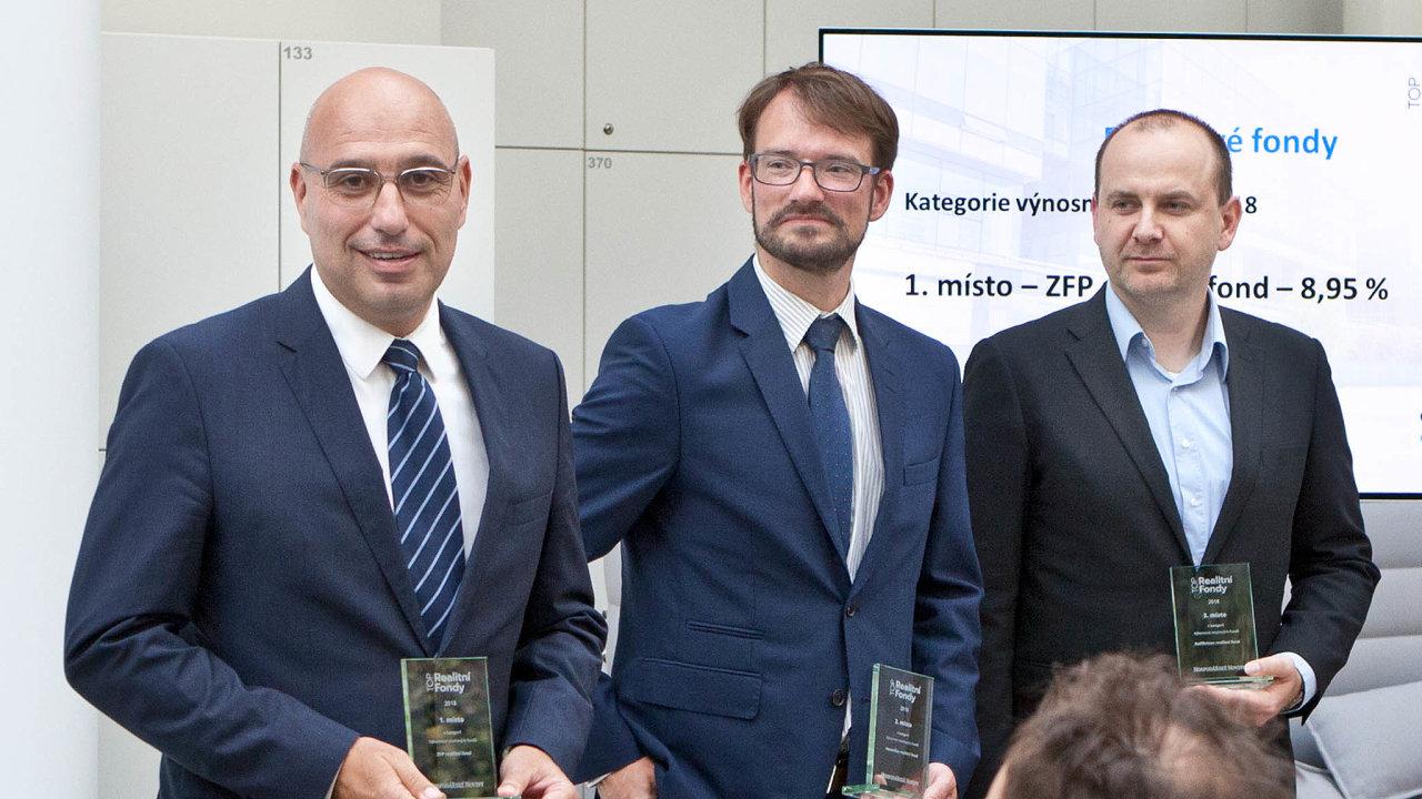 Zleva: Peter Lukáč, ZFP realitní fond; Václav Kovář, Investika realitní fond; Vít Svoboda, Raiffeisen realitní fond.