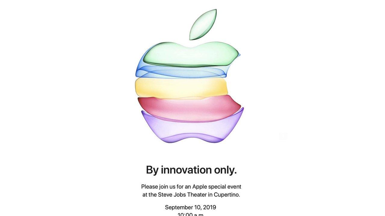 Pozvánka na představení nových produktů s netradičně pojatým logem Applu