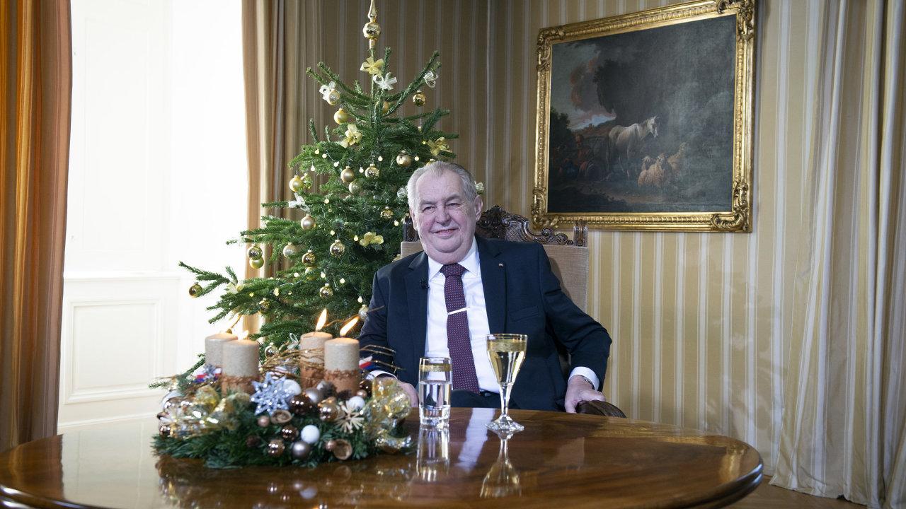 Prezident Miloš Zeman pronesl 26. prosince 2020 v Lánech vánoční poselství.