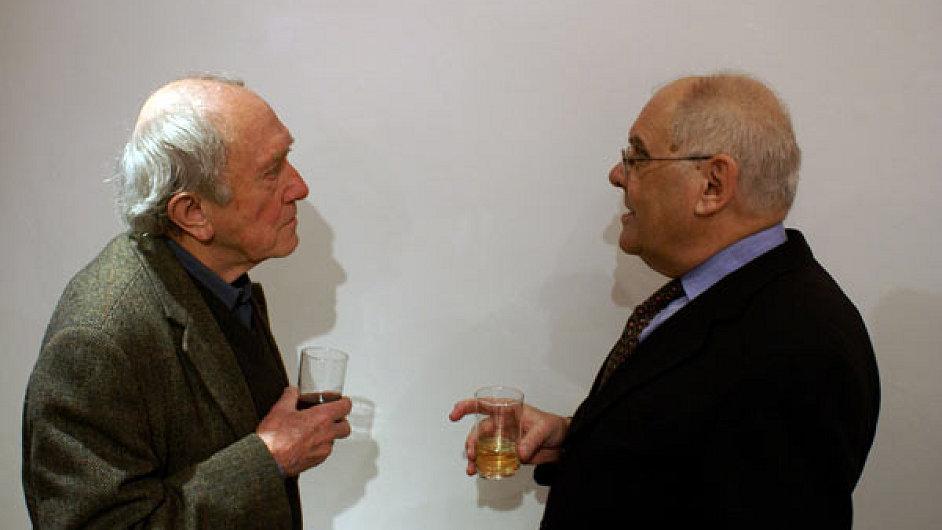 Filozof Jiří Fiala (vpravo) s výtvarníkem Stanislavem Kolíbalem