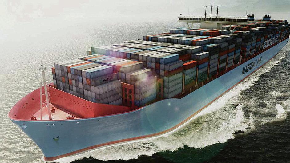 I po moři by již poměrně brzy mohly náklad vozit drony. (Na ilustračním snímku vizualizace největší přepravní lodi Maersk Mc-Kinnley Moller)