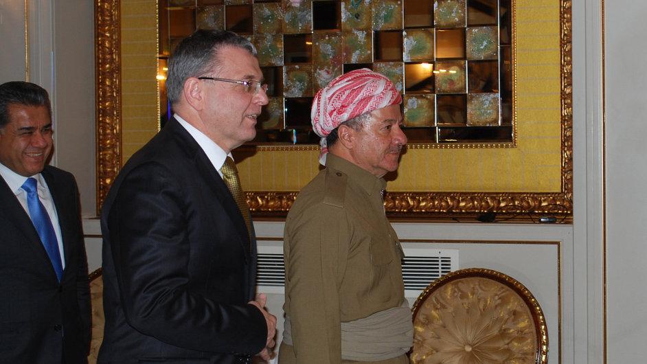 Ministr zahraničí Lubomír Zaorálek s prezidentem Regionu iráckého Kurdistánu Masúdem Barzáním.
