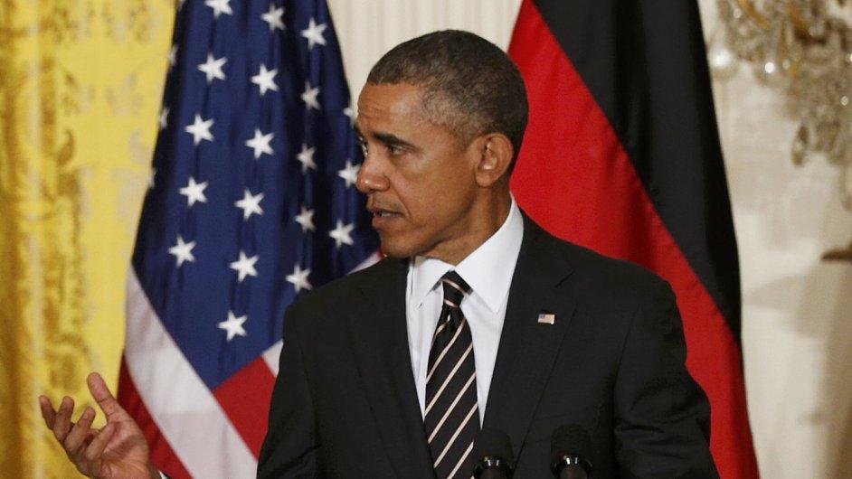 Prezident Barack Obama při tiskové konferenci s německou kancléřkou Angelou Merkelovou
