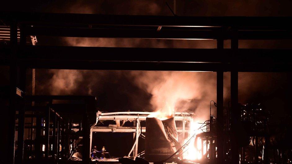 Chemická továrna Runxing Chemical, kterou v sobotu večer otřásl výbuch.