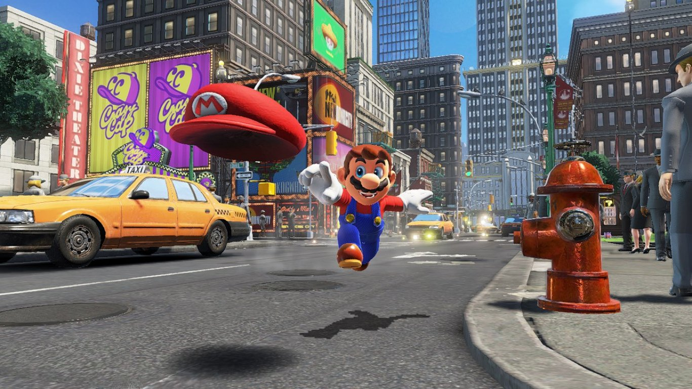 Mario a jeho oživlá čepice ze hry Super Mario Odyssey