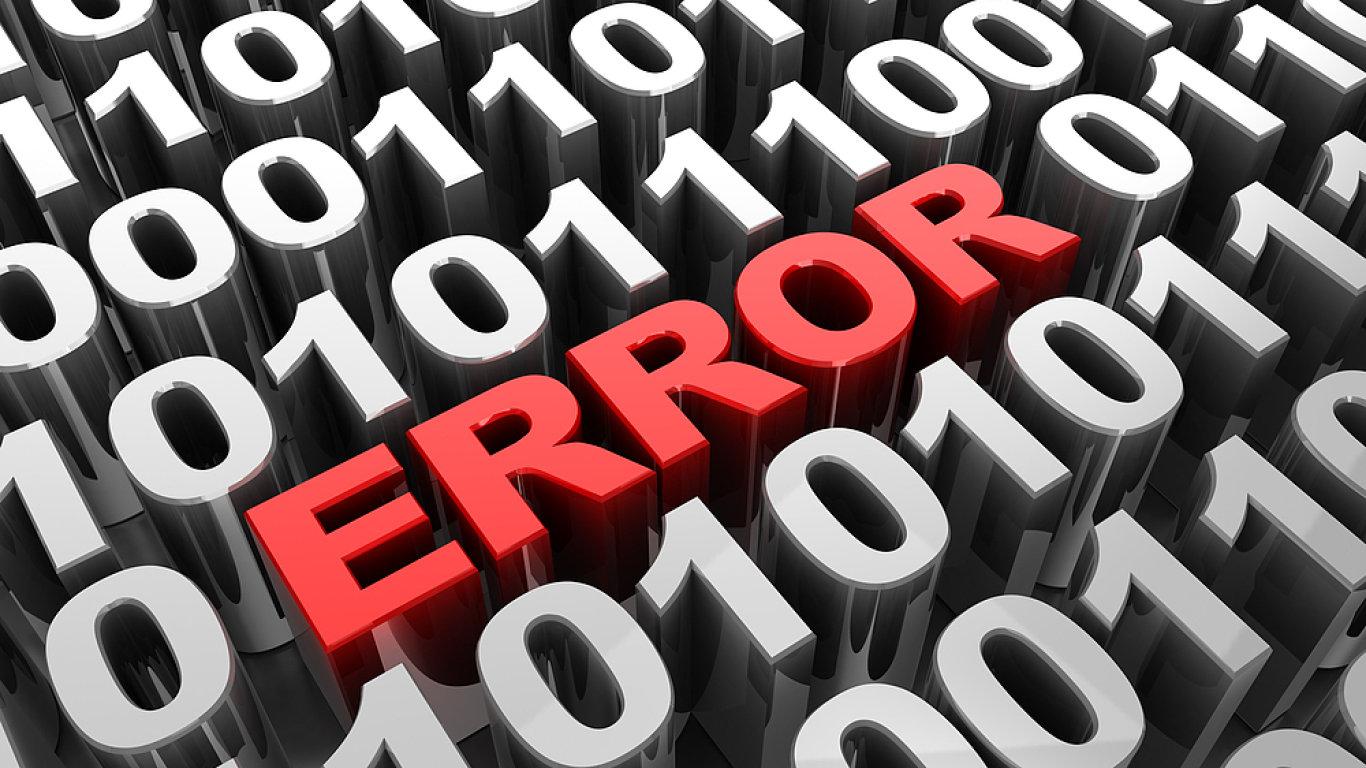 Chyba, problém, chybové hlášení, digitální komunikace