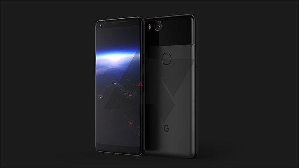 Pixel 2 na produktovém snímku ukazuje moderní design s protaženým displejem.