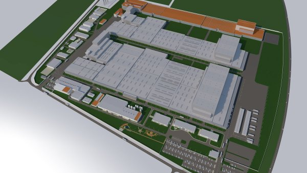 Čtvrtá fáze rozšíření maďarské továrny Hankook Tire je vyznačena oranžově.