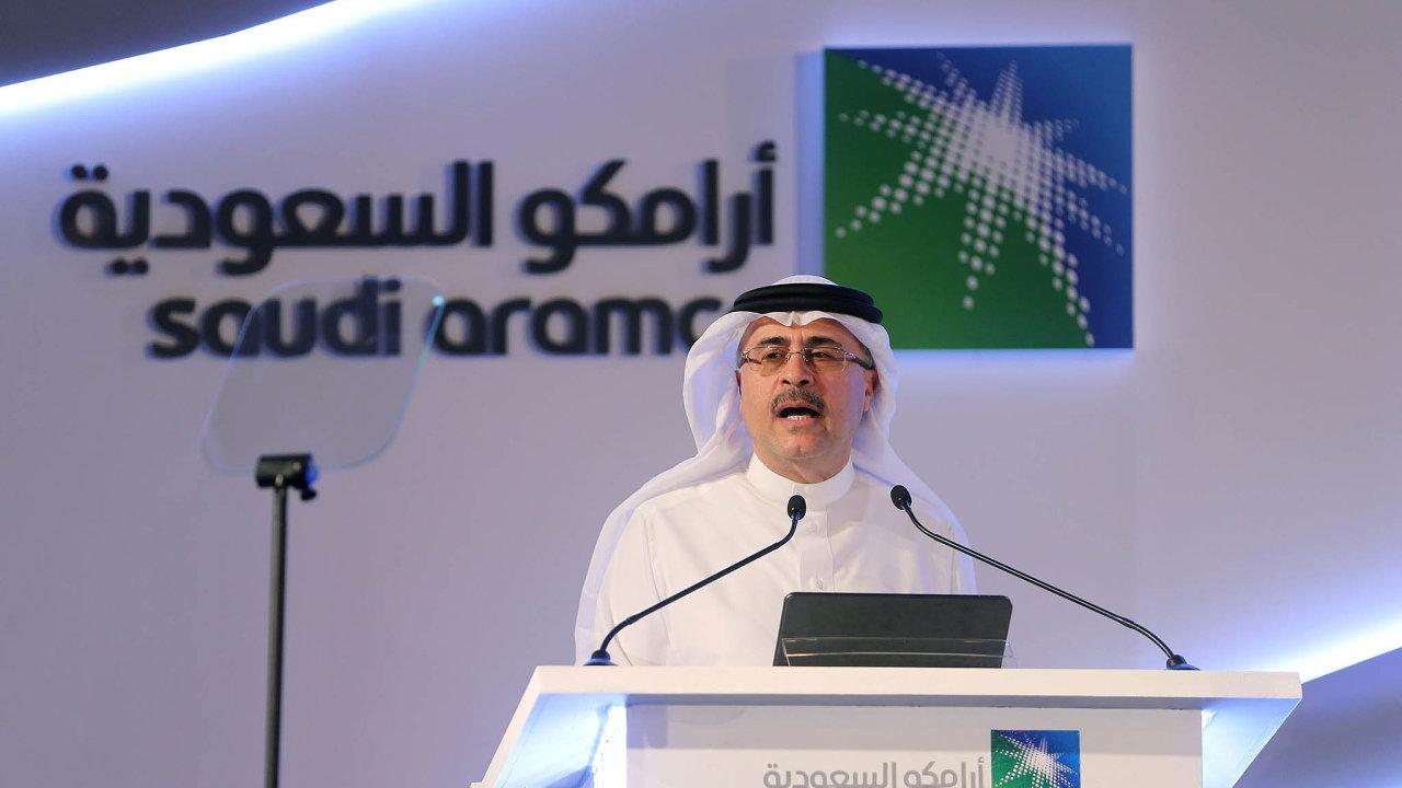 Ředitel společnosti Saudi Aramco Amín Násir na tiskové konferenci, na které oficiálně oznámil vstup společnosti na burzu.