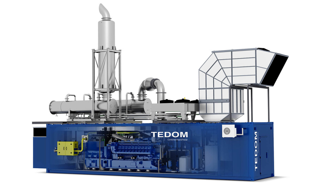 Třebíčská firma vyrábí kogenerační jednotky vetřech modelových řadách srozsahy výkonu 20–50kW, 80–530kW a600–4500kW. (Vizualizace jednotky nejvyšší řady Quanto selektrickým výkonem až 4,5MW.)