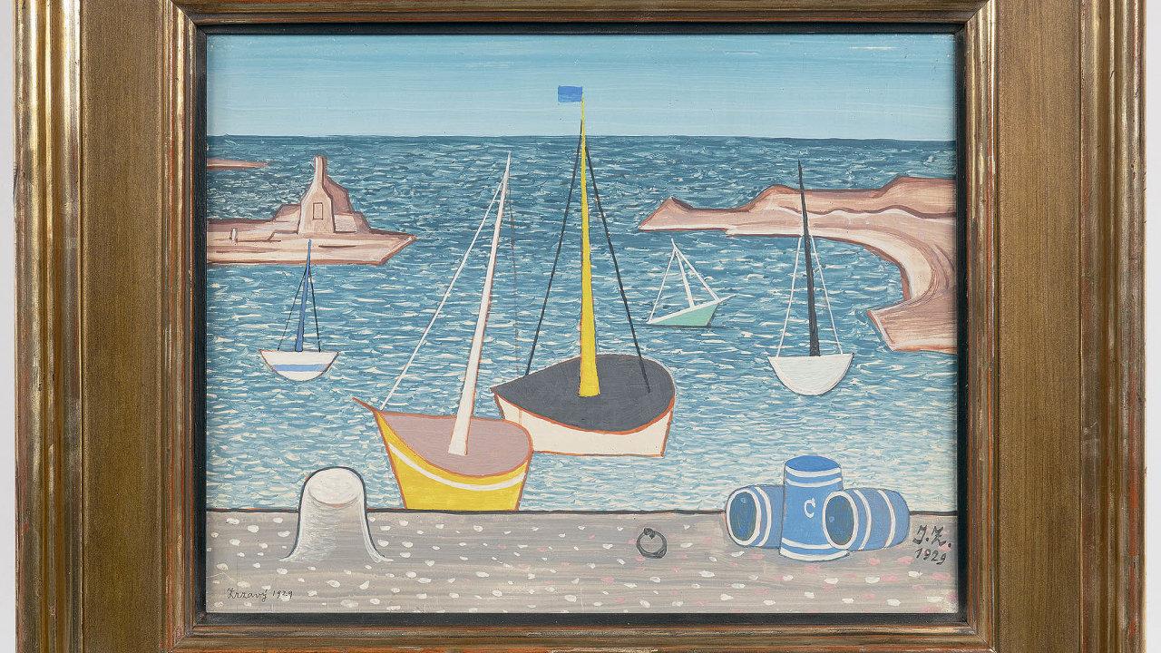 Naaukci společnosti Arthouse Hejtmánek se tento měsíc prodalyLoďky vpřístavu odJanaZrzavéhoza3,2milionu korun.