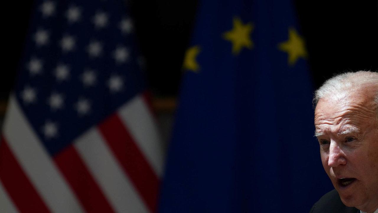 U.S. President Joe Biden speaks during the EU-US summit in Brussels
