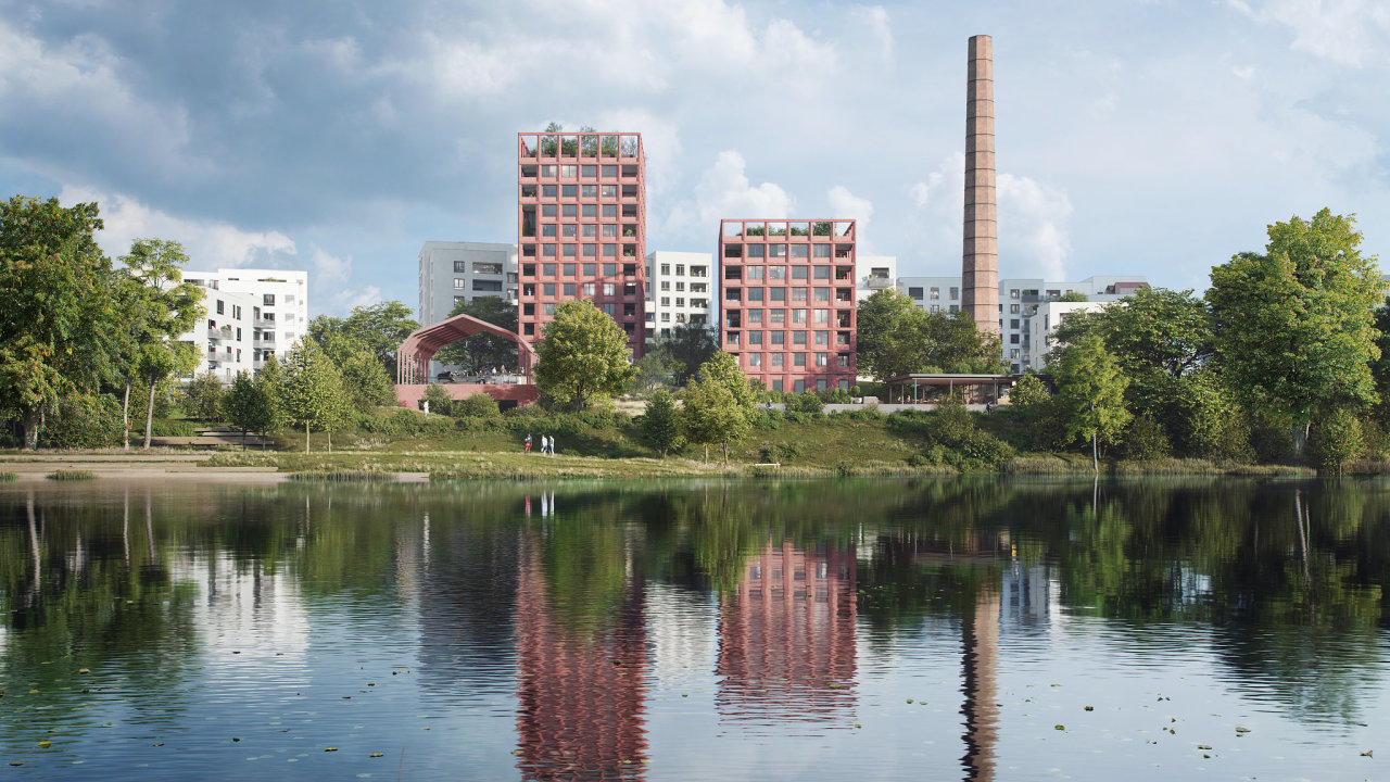 Skanska spustila prodej bytů v projektu Modřanský cukrovar (na vizualizaci). Chce vybudovat fungující sousedskou komunitu.