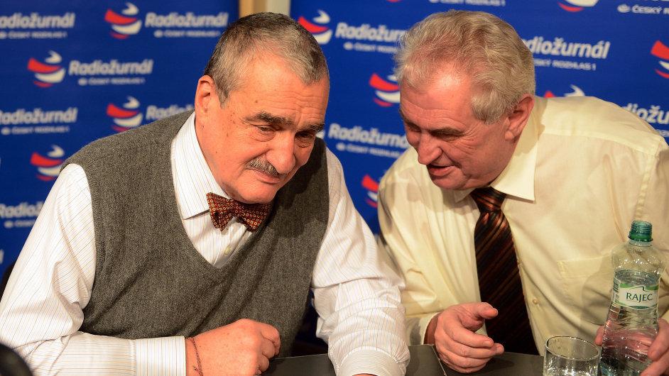 Kandidáti na prezidenta - Karel Schwarzenberg (vlevo), Miloš Zeman (vpravo)