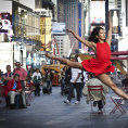 "A dancer poses for a photograph as part of the ""Dance as Art"" photo project in Times Square in New York September 22"