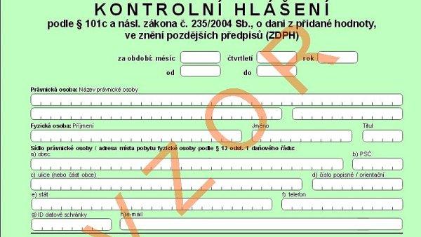 Vzorový formulář kontrolního hlášení