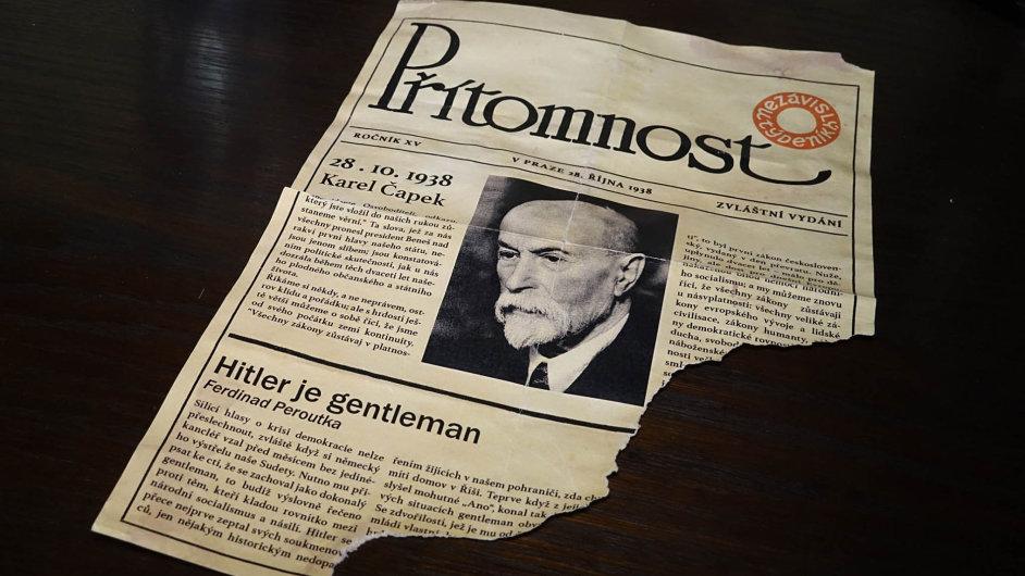 Jeden špatný falzifikát. Městská část Praha 10 se pochlubila falešným článkem Ferdinanda Peroutky Hitler je gentleman, nalezeným 29. června ve vile Karla Čapka na Vinohradech.