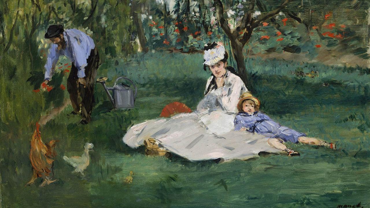 Monetova rodina v zahradě v Argenteuil